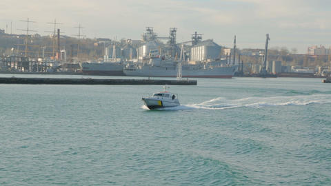 Naval military border boat speed move on a sea Footage