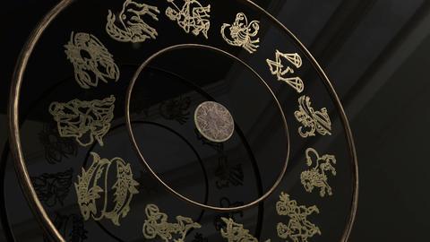 Golden Zodiac Wheel Footage