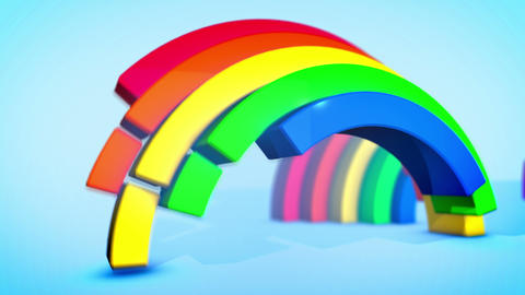 Diving Rainbow Arches in Blue Backdrop Animation
