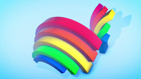 Funny Rainbow Animation in Blue Backdrop Animation