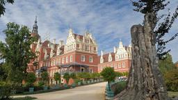 New Castle in Muskau Park - famous English garden in Europe. Park Muzakowski Footage