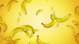 Fresh bananas Slow motion Realistic animation against yellow background Animation