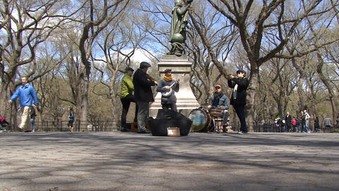 Street musician in Central Park, sound Live Action