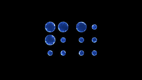 Symbol braille. Blue Electric Glow Storm. looped video. Alpha channel black Animation