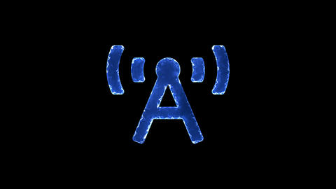 Symbol broadcast tower. Blue Electric Glow Storm. looped video. Alpha channel Animation