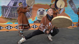 Incendiary dance of indigenous inhabitants of Kamchatka with tambourine GIF