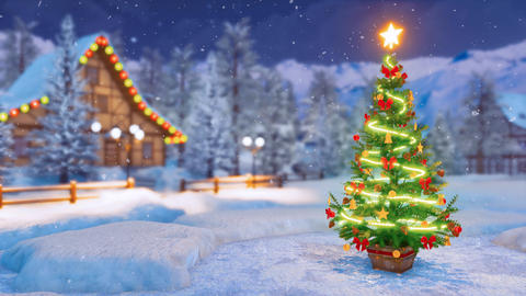 Xmas tree in alpine village at snowfall winter night 4K Animation