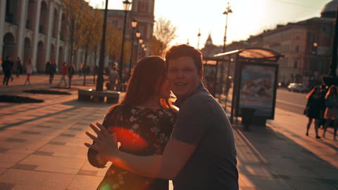 Cute romantic couple spending time, dancing together in... Stock Video Footage