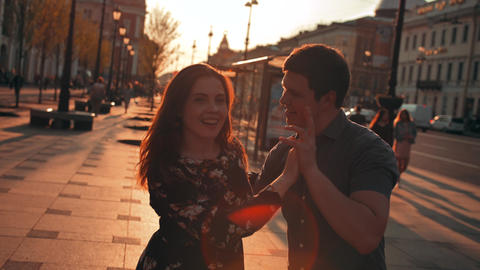 Cute romantic couple spending time, dancing together in… Stock Video Footage