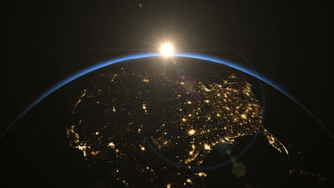 USA from space. Heroic Sunrise. Earth From Space Animation
