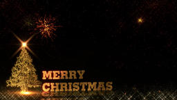 Christmas golden light shine particles bokeh fireworks loop on black background Animation