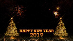 Happy New Year 2019 christmas tree golden light shine particles fireworks Animation