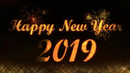 Happy New Year 2019 golden light shine particles CG動画