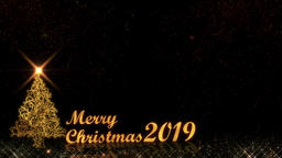 Merry Christmas 2019 golden light shine particles CG動画