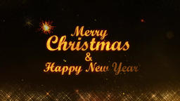 Merry Christmas and Happy New Year golden light shine particles background CG動画