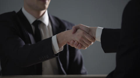 Partnership agreement based on corruption, business handshake in illegal deals Footage