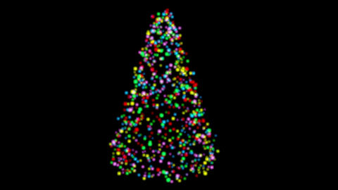 Colorful lights form Christmas tree with twinkling glows, random movements. Animation