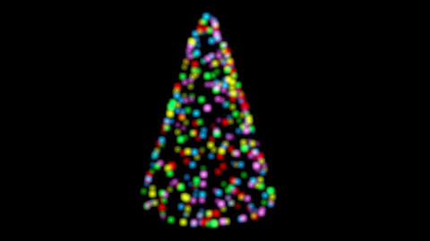 Colorful lights form Christmas tree with twinkling glows. Includes alpha matte Animation