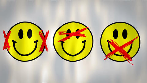 animated flag representing the Three wise monkeys in the smile version, ideal Footage