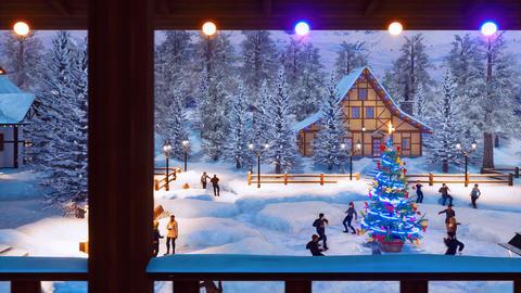 People celebrate Christmas near outdoor Xmas tree Animation