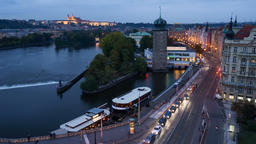 4K Time lapse day to night of Prague riverside shot from Dancing house 영상물