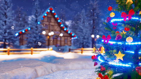 Decorated Christmas tree at winter night Close up 4K Animation