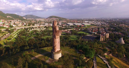 Aerial view of a graveyard. Statue of Jesus Christ Archivo
