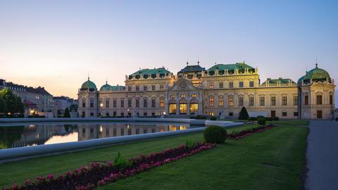 Vienna city timelapse Belvedere Palace in Vienna, Austria time lapse Footage