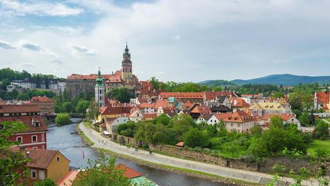 Cesky Krumlov skyline timelapse in Czech Republic time lapse Live Action
