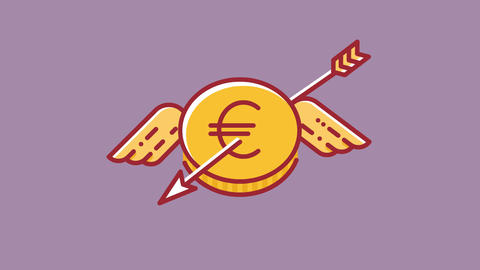 Animation of flying euro coin which is shoot down by arrow, currency Animation
