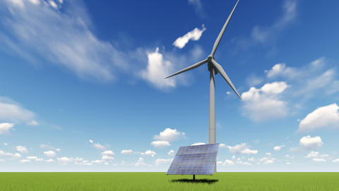 Solar panel and wind turbines Live Action