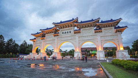 Chiang Kai-shek Memorial Hall in Taipei city, Taiwan day to night timelapse 영상물