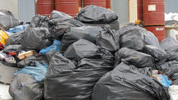 Landfill of garbage bags Live Action