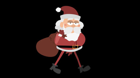Santa Claus Animation 3 - cool walking with sack Animation