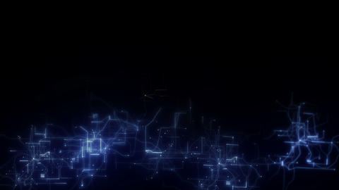 blue technology circuit board background loop.Light bulb on black background Animation