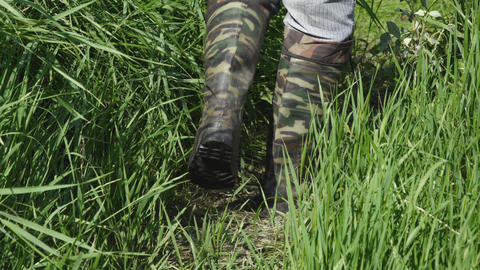 Man walks along the thick grass in khaki boots of protective color Footage