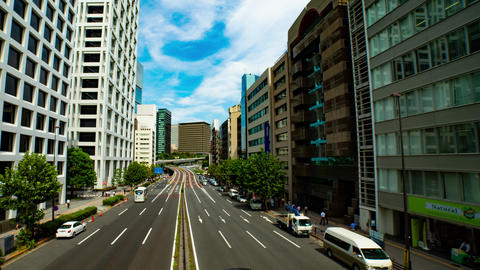 Busy street at Aoyama avenue wide shot time lapse left panning Live Action