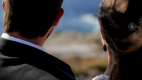 Happy married couple on the sea coast. The concept of a happy family life Footage