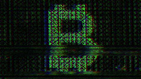 Glitch noise animation of bitcoin BTC symbol on the computer screen Footage
