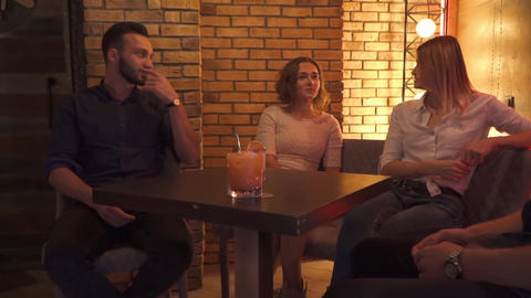 People leisure and communication concept in a cafe Footage