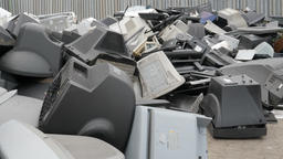 Electronic waste collection point. Electronik junk. Recycling Footage