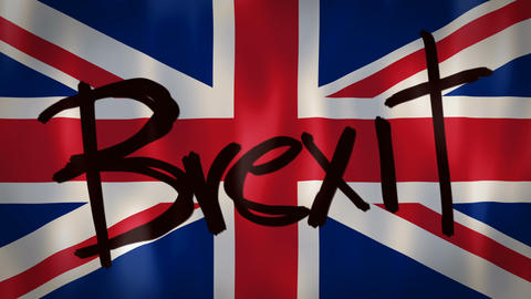English flag with the word Brexit, ideal footage to…, Live Action