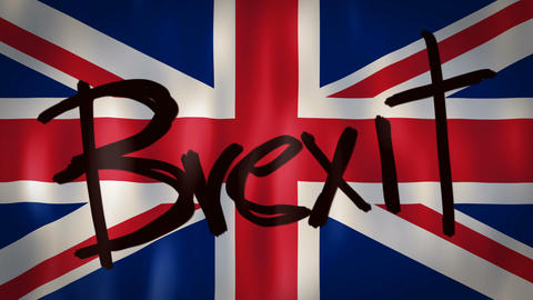English flag with the word Brexit, ideal footage to represent the concept of Footage