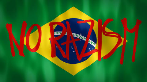 Brazilian flag with the inscription no racism, ideal footage to represent the Photo