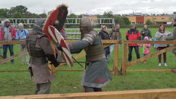 Medieval knights fight. Slow Motion Footage