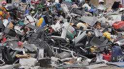 Unsorted plastic waste and household appliances. Recycling center Footage