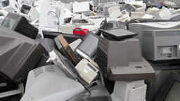 Electronic junk and scrap yard. Recycling point 영상물