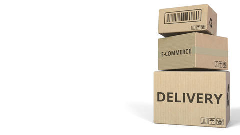E-COMMERCE DELIVERY text on cartons, blank space for caption. 3D animation Live Action