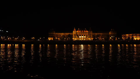 Boat trip on danube river by night 영상물