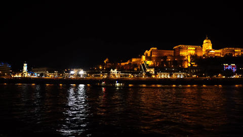 Buda castle by night from the danube river GIF